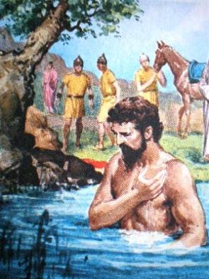 Naamã desceu do camelo e se banhou sete vezes nas águas poluídas do rio Jordão.